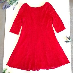 Perceptions Dresses - Perceptions New York Red Lace Dress Size 14 Plus